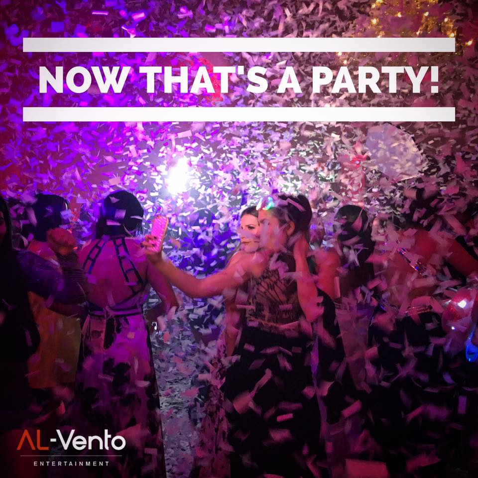 Now thats a party - people dancing with confetti during an Al Vento event geared towards Corporate holiday parties and weddings