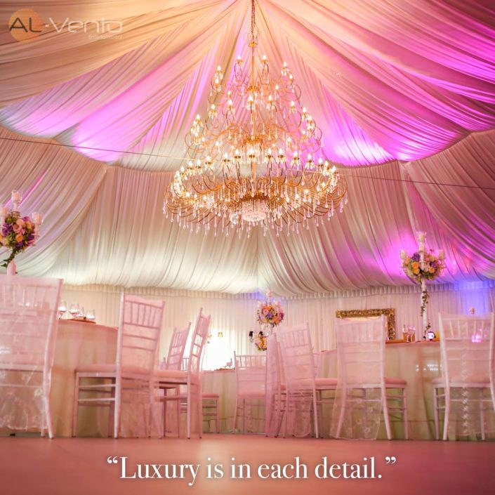 "Promotional flyer for Al-Vento wedding event production services that says ""Luxury is in each detail"""