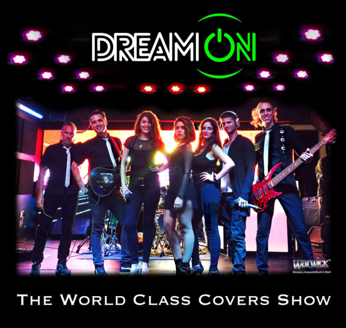 Promotional flyer of Dream On, a world class American and Latin music cover band