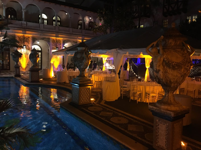 Example of Al-Vento Event production services - Elegant, poolside event at night with mood lighting