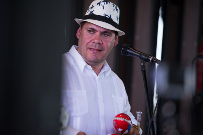 A member of The Cuban Latin Band during a show