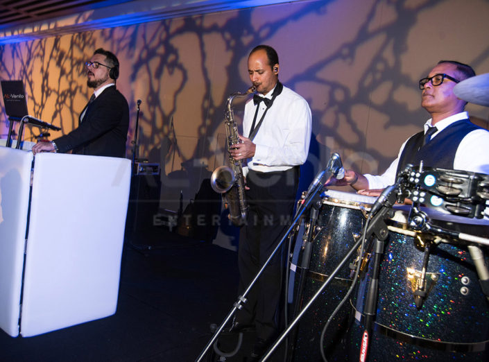 The DJ and horn player perform at a wedding as part of DJ Fusion